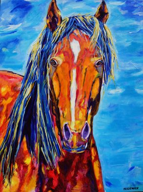 Denise Messenger: 'chosen', 2018 Acrylic Painting, Horses. Artist Description: Original acrylic impressionistic horse fine art on canvas painting 30 x 40 inches. In a black floater frame. ...