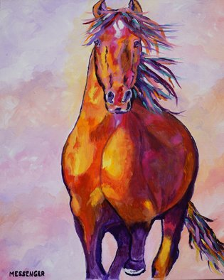 Denise Messenger: 'free at last', 2018 Acrylic Painting, Horses. Artist Description: Original acrylic impressionistic horse fine art painting on canvas 20 x 24 inches in a black floater frame. ...