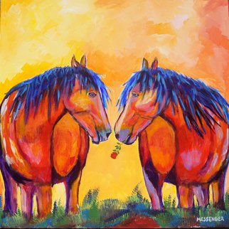 Denise Messenger: 'mates forever', 2017 Acrylic Painting, Horses. Artist Description: Original acrylic impressionistic on canvas horse fine art painting 24 x 24 inches in a black floater frame. ...