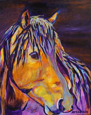 Denise Messenger: 'the bachelor', 2018 Acrylic Painting, Horses. Artist Description: Original acrylic on canvas Impressionistic fine art horse painting 16 x 20 inches in a black floater frame. ...