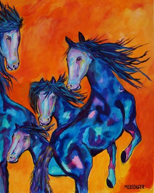 Denise Messenger: 'trouble stirring', 2017 Acrylic Painting, Horses. Artist Description: Original acrylic canvas impressionistic 24 x 30 inch Horse Fine Art in a brown floater frame. ...