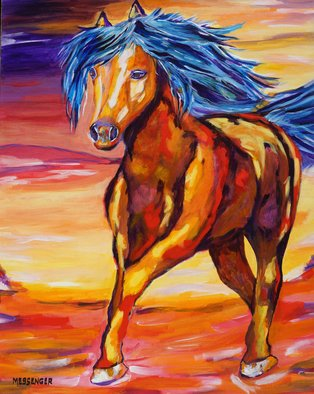Denise Messenger: 'young at heart', 2018 Acrylic Painting, Horses. Artist Description: Young at Heart Horse Fine Art Impressionistic  Original Acrylic 24 x 30 inch painting on canvas in a brown floater frame. ...