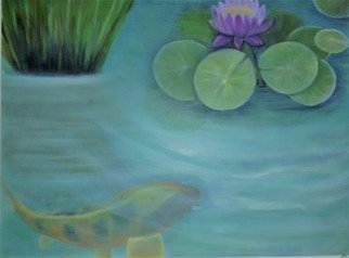 Denise Seyhun: 'Coy pond', 2016 Oil Painting, Floral. Artist Description:  Coy pond, pond, water lilies, serenity, inspiration, meditation ...