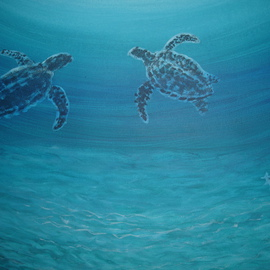 Denise Seyhun Artwork Sea Turtles, 2015 Acrylic Painting, Sea Life