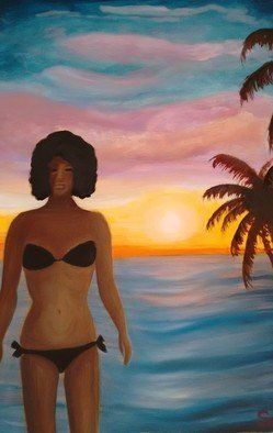 Denise Seyhun: 'beach lover', 2016 Oil Painting, Inspirational. Figure, Beach goer, beach body...