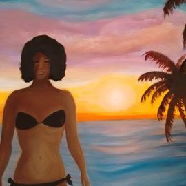 Denise Seyhun: 'beach lover', 2016 Oil Painting, Inspirational. Artist Description: Figure, Beach goer, beach body...