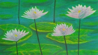 Denise Seyhun: 'pink water lilies', 2018 Acrylic Painting, Floral. Artist Description: water lilies, flowers, floral, nature, serenity, garden...