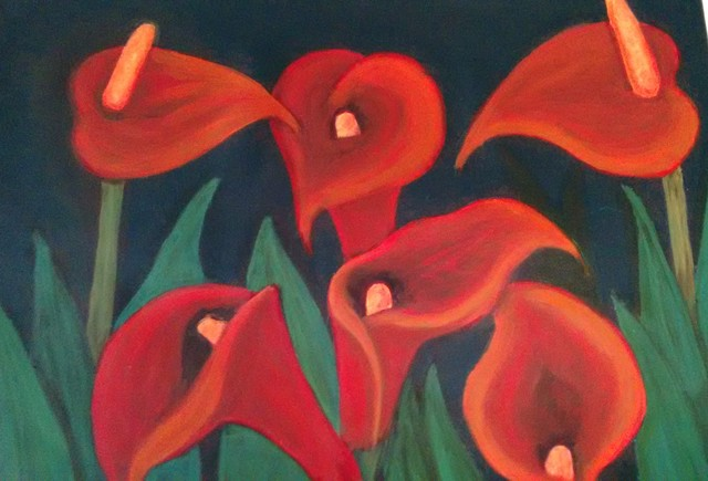 Denise Seyhun: red calla lilies, 2016 Oil Painting