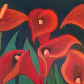 Denise Seyhun: 'red calla lilies', 2016 Oil Painting, Floral. Artist Description: Flowers, floral, lilies, calla lilies, red flowers...