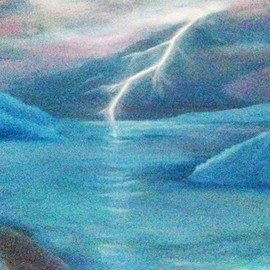 Denise Seyhun: 'stormy night', 2017 Oil Painting, Sea Life. Artist Description: Storm, sea world, seascape, lightning, stormy night...