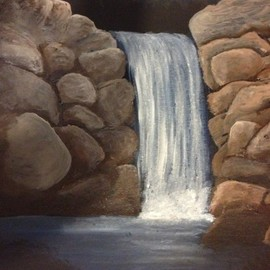 Denise Seyhun: 'the rockies', 2017 Oil Painting, Scenic. Artist Description: Waterfall, Rockies, nature, meditation...