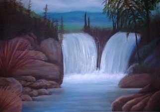 Denise Seyhun: 'waterfalls', 2016 Oil Painting, Meditation. Artist Description: Nature, Serenity, waterfalls, rivers, landscape...