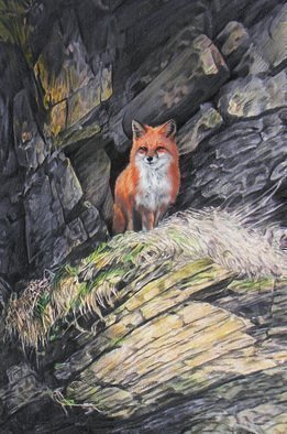 Dennis Mccallum: 'Red Fox', 2016 Mixed Media, Animals.   A taste of whisky  fox red mountains  ...