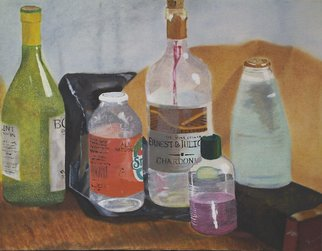 Denys Katz Harvell: 'Collection', 2007 Oil Painting, Still Life. This still life depicts a variety of eclectic bottles.  The frame is black wood.  ...