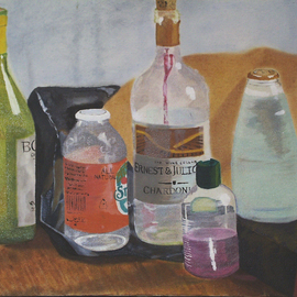 Denys Katz Harvell: 'Collection', 2007 Oil Painting, Still Life. Artist Description: This still life depicts a variety of eclectic bottles.  The frame is black wood.  ...