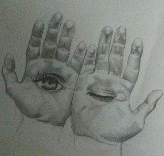 Denzel Ross: 'hand hallucination', 2017 Pencil Drawing, Life.