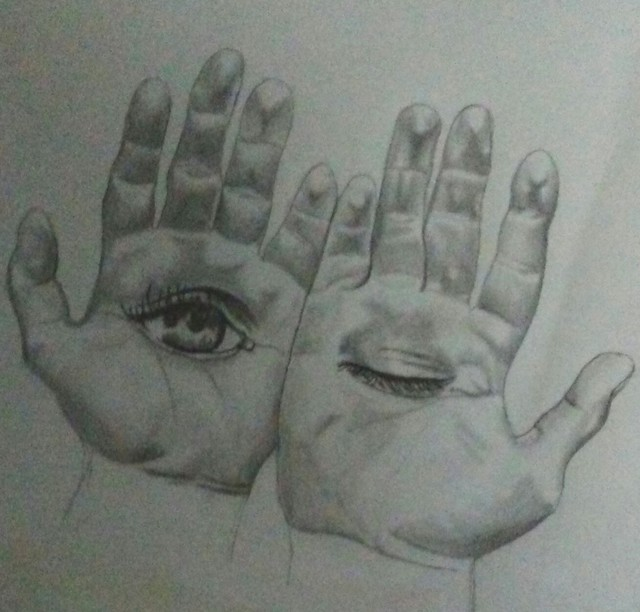 Denzel Ross  'Hand Hallucination', created in 2017, Original Drawing Pencil.