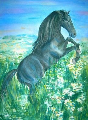 Artist: Deborah Paige Jackson - Title: Black Stallion - Medium: Watercolor - Year: 1998