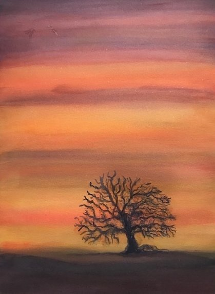 Deborah Paige Jackson: 'Lone Tree', 2019 Watercolor, Scenic. A watercolor wash using the wet into wet technique.  ...