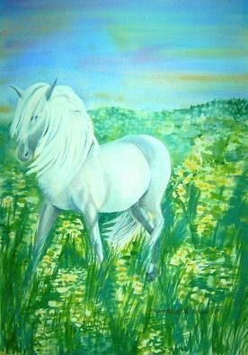 Artist: Deborah Paige Jackson - Title: White Horse - Medium: Watercolor - Year: 1998