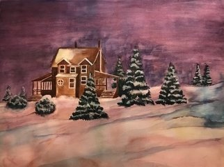 Deborah Paige Jackson: 'a snowy night', 2018 Watercolor, Landscape. Painted from a composition I created from images from my photography collection. ...