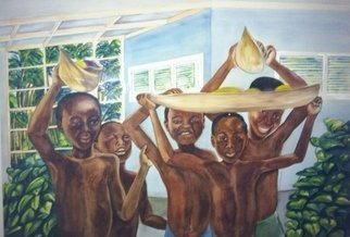 Deborah Paige Jackson: 'boys from addis abbaba', 1999 Watercolor, Children. Artist Description: This photo struck me that my husband at the time had taken while he was on tour in Addis Abbaba Ethiopia. ...