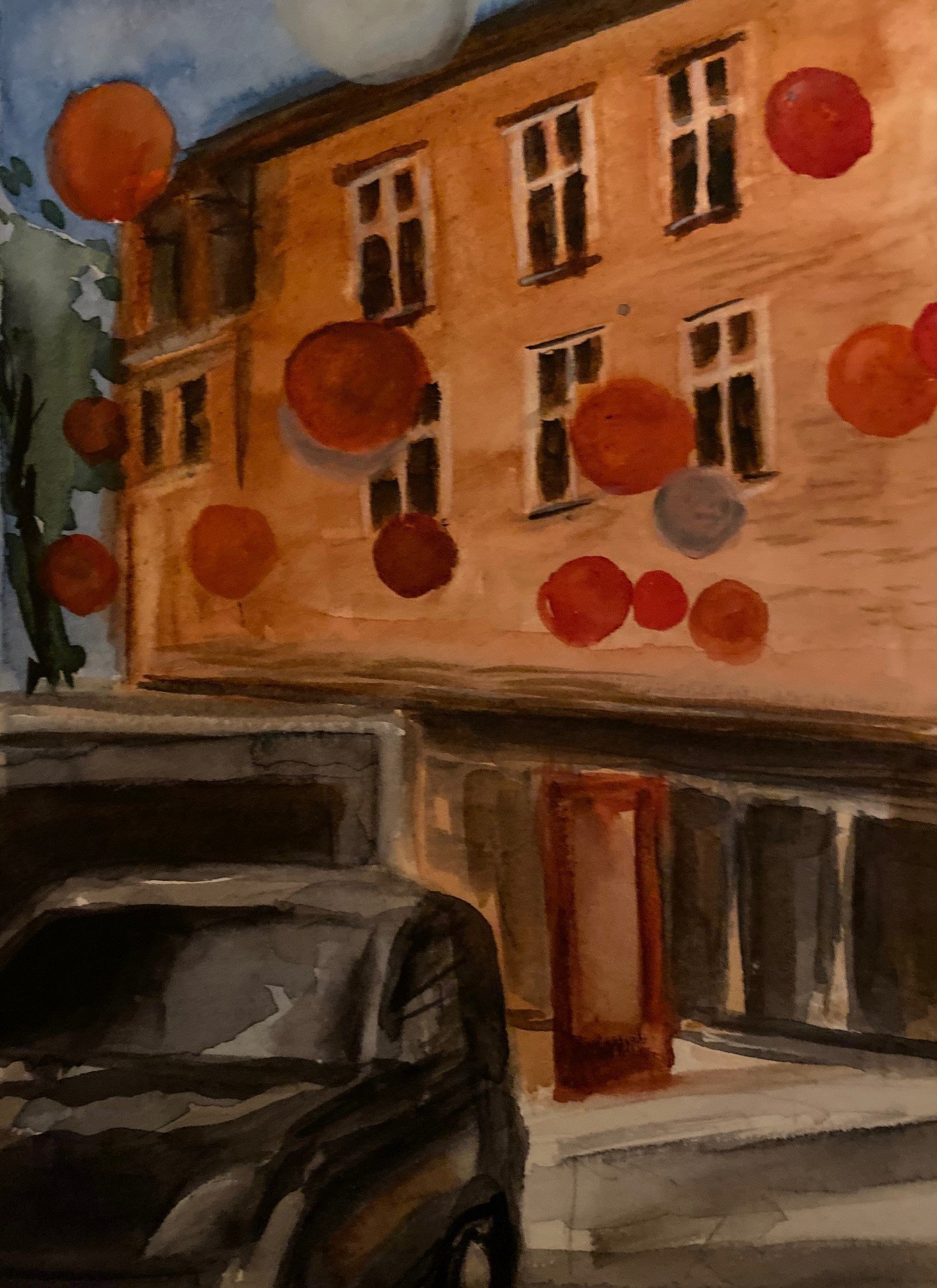 Deborah Paige Jackson: 'building and balloons', 2018 Watercolor, Landscape. I was struck by this street while visiting Canada with strings of balloons from apartment to apartment. ...