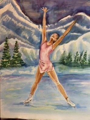 Deborah Paige Jackson: 'iskate', 2015 Watercolor, Dance. Artist Description: I wanted to show the beauty and majesty that I find in ice skating. Even though I can t do it, at least I can paint it. ...