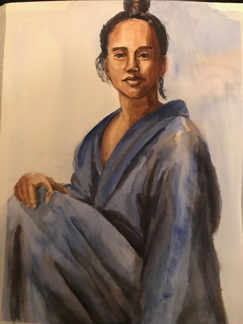 Deborah Paige Jackson  'Man In A Robe', created in 2018, Original Drawing Pencil.