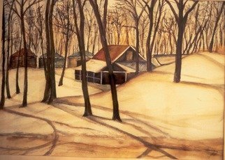 Deborah Paige Jackson: 'michigan snow', 1982 Watercolor, Landscape. Snow scene from photograph taken by me during a visit to Michigan State, East Lansing. ...