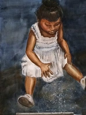 Deborah Paige Jackson: 'night play', 2014 Watercolor, Children. Artist Description: I was fascinated at the sight of this toddler playing in the dirt at night in her pretty white dress. ...