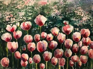 Deborah Paige Jackson: 'tulip time', 2018 Watercolor, Floral. A garden in the park full of tulips. ...