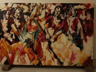 Parijat Dey: 'dancing girls', 2018 Acrylic Painting, Beauty. copy art of a famous artist Subrata Ganguly...