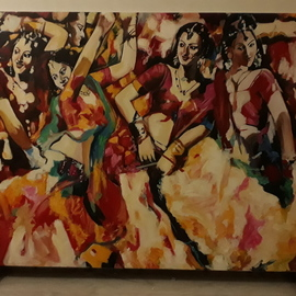 Parijat Dey: 'dancing girls', 2018 Acrylic Painting, Beauty. Artist Description: copy art of a famous artist Subrata Ganguly...