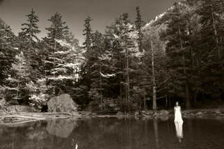 Petri De Pit�: 'Black lake and white girl', 2007 Black and White Photograph, Landscape.  A white girl in a Swiss mountain lake ...