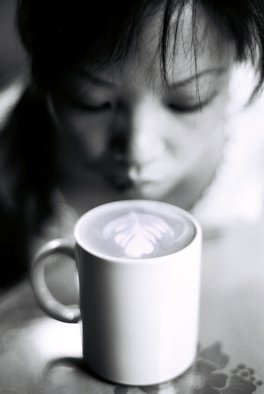 Petri De Pit�: 'Poetic Latte', 2006 Silver Gelatin Photograph, Portrait.  A Chinese girl and a latte in Beijing ...