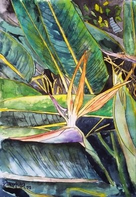 Artist: Derek Mccrea - Title: Bird of Paradise still life painting - Medium: Watercolor - Year: 2008