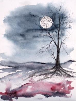 Artist: Derek Mccrea - Title: Moon Light Gothic Modern Fine Art Print - Medium: Watercolor - Year: 2007