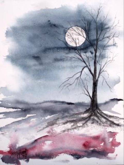 derek mccrea artwork moon light gothic modern fine art print original watercolor landscape art. Black Bedroom Furniture Sets. Home Design Ideas