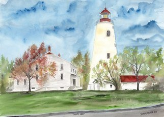 Artist: Derek Mccrea - Title: Sandy Hook Lighthouse Watercolor Poster Print - Medium: Watercolor - Year: 2004