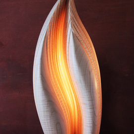 Dermot O'brien: 'Grace', 2014 Wood Sculpture, Abstract. Artist Description:    Light sculpture maple wood lamp   ...