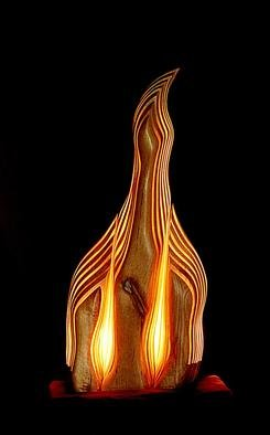 Dermot O'brien: 'phoenix', 1998 Wood Sculpture, Abstract. The sculpture is made of red alder and contains three lightsources...