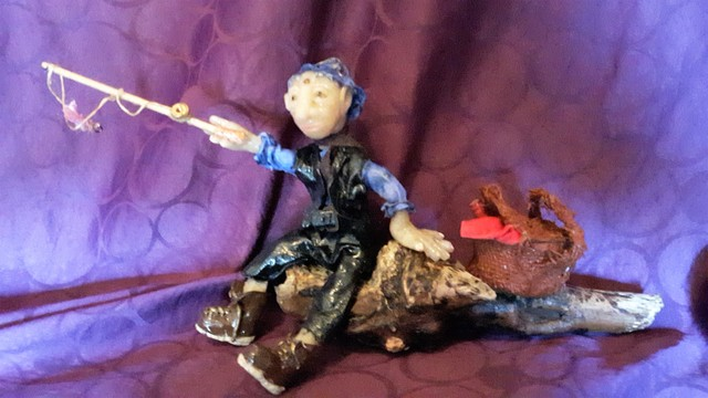 Laura Scott  'Fishing', created in 2017, Original Sculpture Clay.