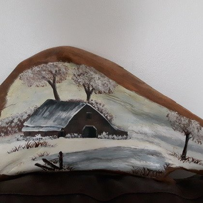 , Winter Barn, Landscape, $394