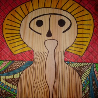 Despo Ioannidou: 'spiritual figure 2', 2016 Metalsmith, undecided. Artist Description:  drawing on wood using markers, gel pens and pencils. ...