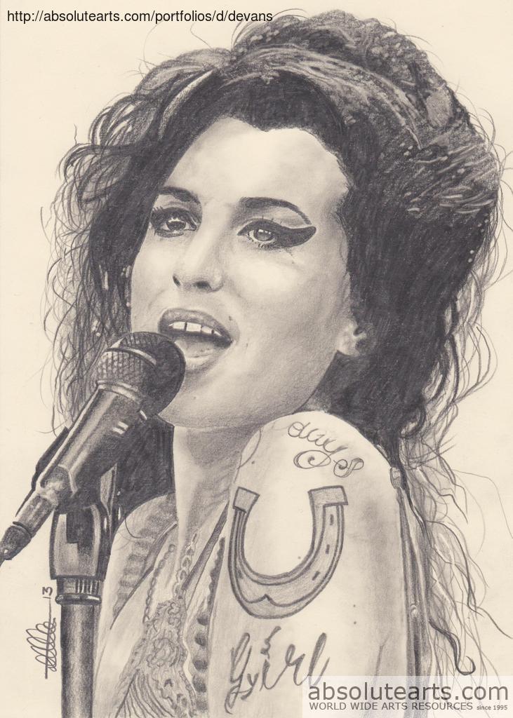 Dallas Evans Artwork Amy Winehouse Original Drawing Pencil