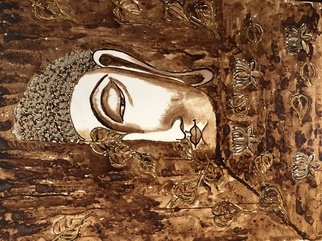 Dheeraj Girijan: 'the enlightened', 2018 Acrylic Painting, Buddhism. Artist Description: This half- faced Buddha is an exclusive and unique piece of Coffee   Acrylic Painting on Canvas with touches of gold glitter  ...