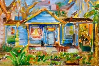 Denise Katz Artwork the tiny blue house, 2017 Oil Painting, Family