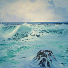 Daniel Howard: 'Sea Scape', 2004 Oil Painting, Seascape. Artist Description: The birth place of life...
