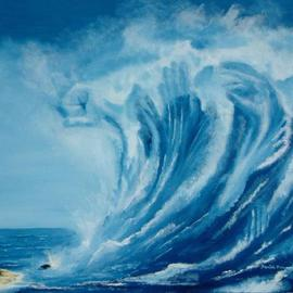 Daniel Howard: 'Tsunami', 2003 Oil Painting, Seascape. Artist Description: There for that split second it stands. We gaze in awe at it's power knowing we wont survive...